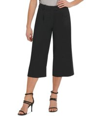 dkny solid pleated cropped pants