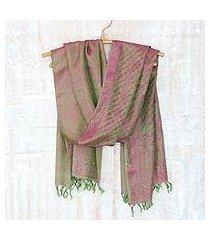 varanasi silk shawl, 'banaras green' (india)
