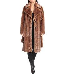 belted faux mink coat