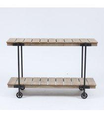 luxen home wood two-tier shelf storage cart