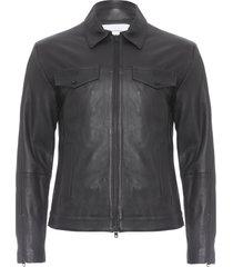 jaqueta masculina de couro com recortes - preto