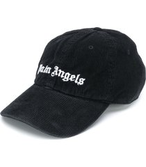 palm angels logo-embroidered corduroy baseball cap - black