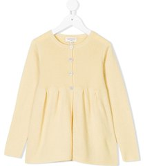 cashmirino pleated hem knitted cardigan - yellow
