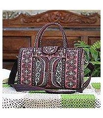 cotton handbag, 'carnation crescents' (14.5 inch) (indonesia)