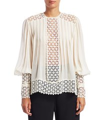 espionage pintuck & lace inset blouse