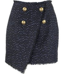 balmain asymmetric skirt blu