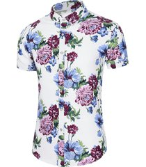 flower print beach button shirt