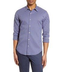men's bonobos slim fit plaid button-up performance shirt, size xx-large r - blue