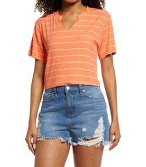 bp. split neck ribbed t-shirt, size medium in coral bella stripe at nordstrom