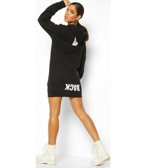back print slogan hoodie dress, black
