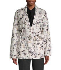 floral-print cotton & linen jacket