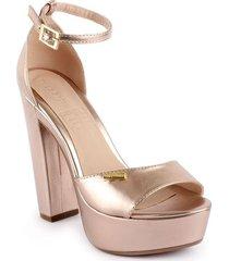 sandalias de tacón alto color oro rosa 5229270ororosa