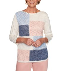 alfred dunner petite pearls of wisdom 2019 colorblocked pointelle-knit sweater