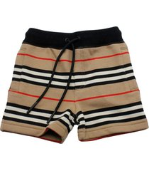 burberry fleece shorts with drawstring and check striped pattern