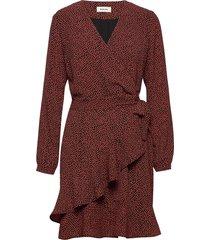atlas print dress jurk knielengte rood modström