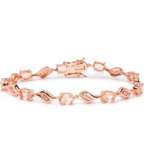 rose gold plated oval simulated morganite bracelet