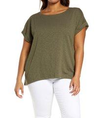 plus size women's caslon roll sleeve high/low top, size 2x - green