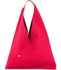cabas triangle shaped tote - red