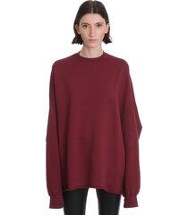 drkshdw crater tee sweatshirt in bordeaux cotton