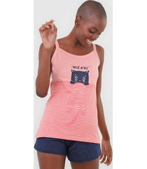 pijama pzama meow rosa/azul-marinho