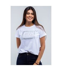 t-shirt feminina blusa estampada edius #boss branco