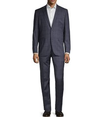 kenneth cole new york men's regular-fit plaid wool blend suit - denim - size 42 s