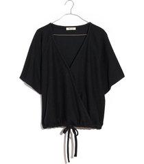 women's madewell drapey ottoman jacquard faux wrap top, size xx-small - black