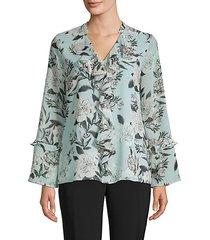bell-sleeve ruffled blouse