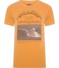 t-shirt masculina tinturada saquasurf v - amarelo
