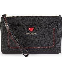 marc jacobs women's empire city valentine leather wristlet - black