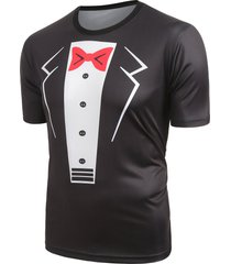 fuax blazer print short sleeves casual t-shirt