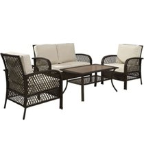 crosley tribeca 4 piece outdoor wicker seating set with sand cushions - loveseat 2 arm chairs and coffee table