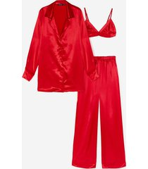 womens satin 3 pc oversized pajama shirt and pants set - red
