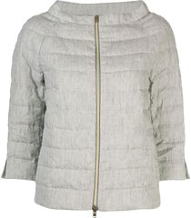 herno boat neck puffer jacket - grey
