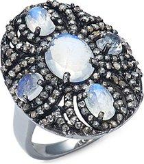 black rhodium-plated sterling silver, moonstone & diamond ring