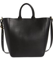 madewell the abroad leather laptop tote - black