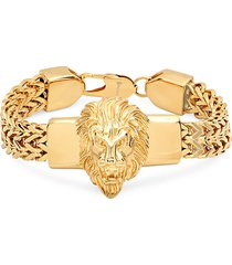 18k gold plated stainless steel lion head box chain bracelet