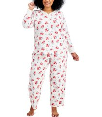 charter club plus size thermal fleece printed pajama set, created for macy's