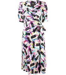 marc jacobs ribbon logo print wrap dress - white