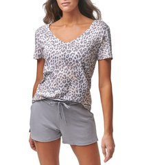 marc new york performance women's short sleeve slub t-shirt - leopard print - size m