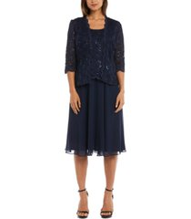r & m richards sequined lace chiffon dress and jacket