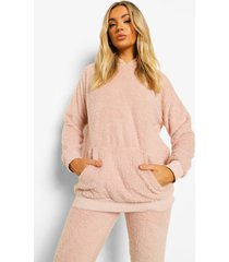 fleece teddy lounge hoodie, blush