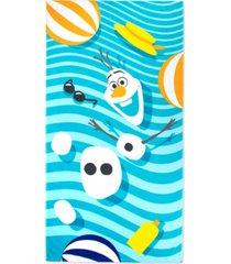"closeout! disney frozen olaf crazy for summer cotton 34"" x 64"" beach towel bedding"