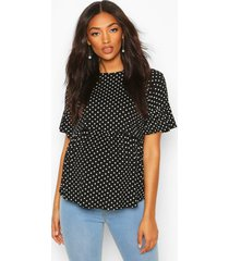 maternity nursing polka dot smock top, black