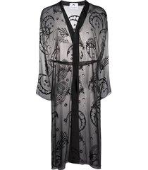 marine serre nightgown jacquard coat - black
