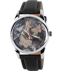 reloj de cuarzo de señora de cara de mariposa-negro