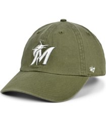 '47 brand miami marlins olive white clean up cap
