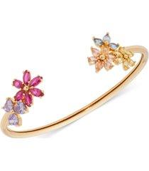 kate spade new york gold-tone multicolor cubic zirconia flower flexi-cuff bracelet