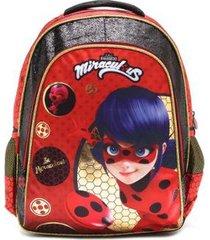 mochila infantil miraculous lady bug be 966n04 feminina