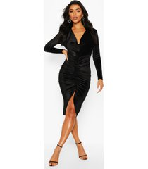 cowl neck velvet draped midi dress, black